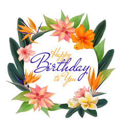 happy birthday tropical circle frame vector image