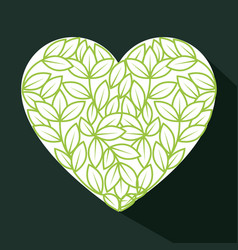 Heart and leaves design vector