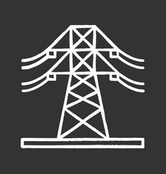 High voltage electric line chalk icon vector