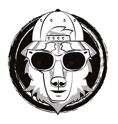 hipster wolf cool sketch vector image