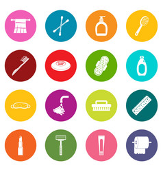Hygiene tools icons many colors set vector