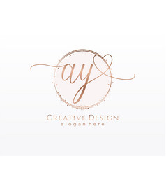Initial ay handwriting logo with circle template vector