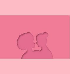 Interracial lesbian women couple paper cut vector