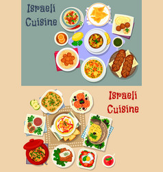 israeli cuisine shabbat dinner icon set design vector image