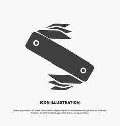 Knife army camping swiss pocket icon glyph gray vector