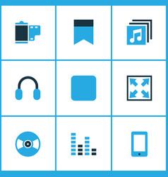 media icons colored set with widen headphone vector image