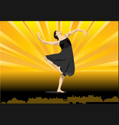modern dance on yellow background vector image