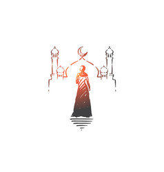 muslim woman visiting mosque concept sketch hand vector image