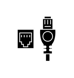 network cable and socket black icon sign vector image
