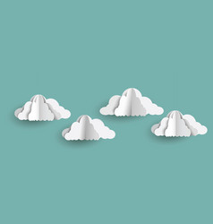 Origami clouds in paper art style on blue sky vector