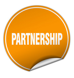 Partnership round orange sticker isolated on white vector