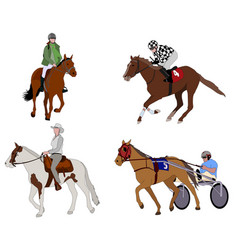 people riding horses vector image