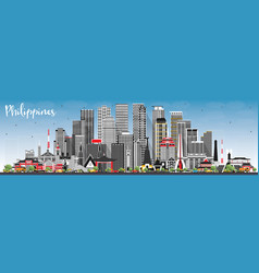 Philippines city skyline with gray buildings vector