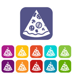 Pizza slice icons set flat vector