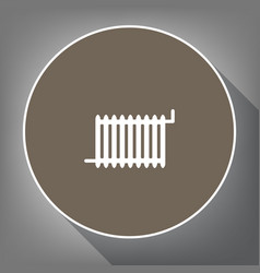 radiator sign white icon on brown circle vector image vector image