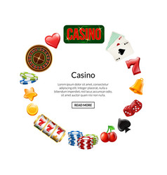 realistic casino gamble in circle with vector image