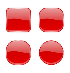 Red glass buttons shiny geometric 3d icons vector