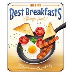 Restaurant Breakfast Advertisement Retro Poster vector