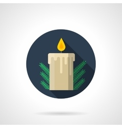Round flat blue icon for Christmas candle vector image