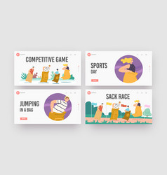 Sack race landing page template set family vector