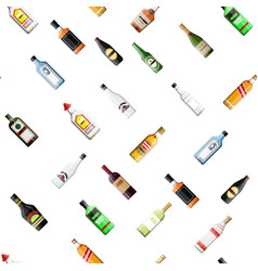 seamless alcohol glass bottles collection pattern vector image