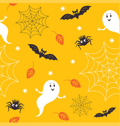 Seamless halloween pattern cute little ghostes vector