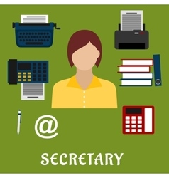 Secretary or assistant profession flat icons vector