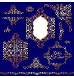 Set floral golden eastern decor frame elements vector