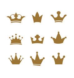 set golden sign crown design modern logos queen vector image