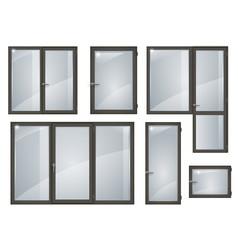 Set of black plastic windows vector