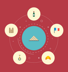 set of france icons flat style symbols with wine vector image