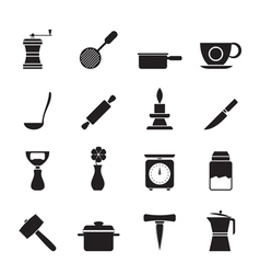 Silhouette Kitchen and household tools icons vector image