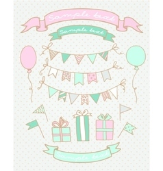sketches birthday party elements vector image