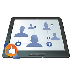 social network on the screen of mobile computer - vector image