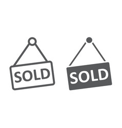 sold line and glyph icon real estate and home vector image