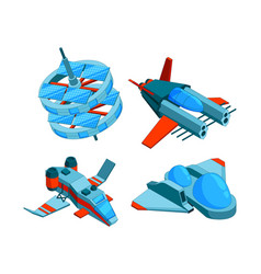 Spaceships isometric building technology vector