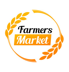 stylish logo for farmers market in golden vector image