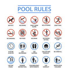 Swimming pool rules vector
