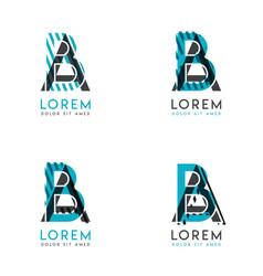 The ba logo set abstract modern graphic vector
