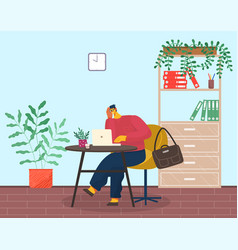 tired or pensive man sits at laptop briefcase vector image