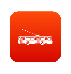 Trolleybus icon digital red vector