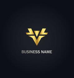 v shape initial company logo vector image