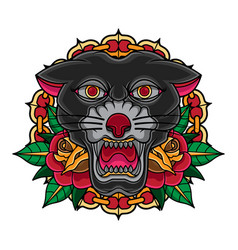 vintage old school tattoo panther vector image