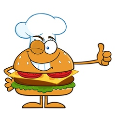 Winking Chef Hamburger Cartoon vector