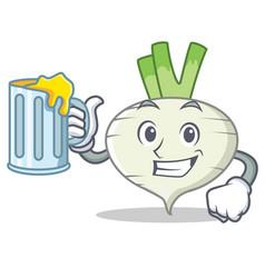 With juice turnip mascot cartoon style vector