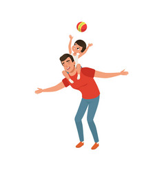 boy playing ball while sitting on daddys shoulders vector image vector image