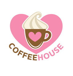 coffee house colorful logotype sign isolated on vector image vector image