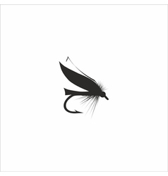 Fly-fishing on white background vector image