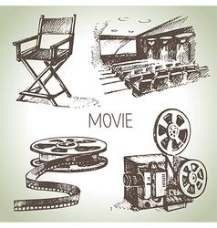 Hand drawn vintage Movie and cinema set vector image