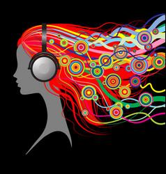 head of girl with head-phones vector image